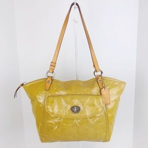 Coach Leah Signature Patent Leather Carryall Tote